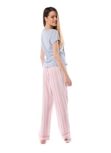 Pamuk & Pamuk Pembe Çizgili Baskılı Kadın Pijama Takım Renkli